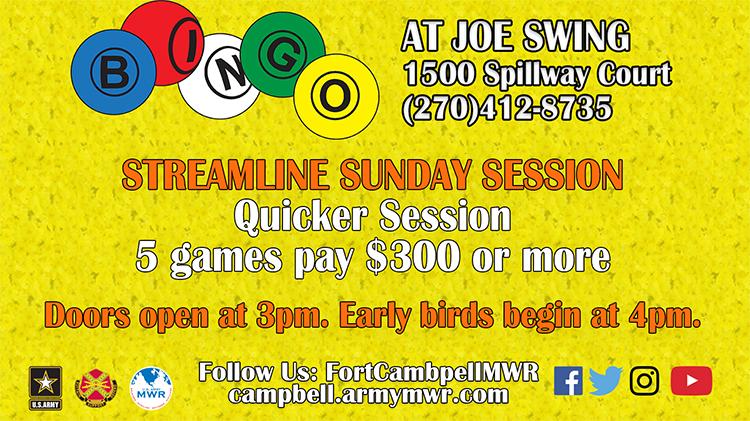 Streamline Sunday Session Bingo - Fee