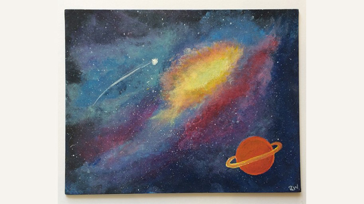Arts & Crafts Galaxy Painting on Canvas
