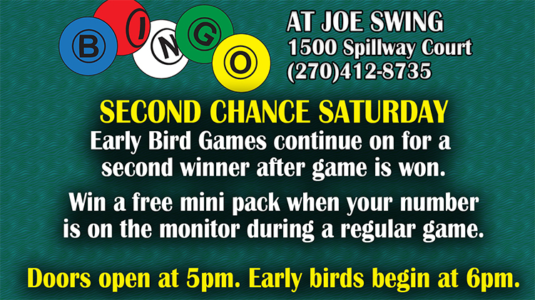 Second Chance Saturday Bingo Session - Fee