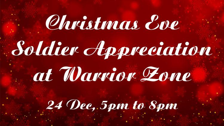 Christmas Eve Soldier Appreciation at Warrior Zone