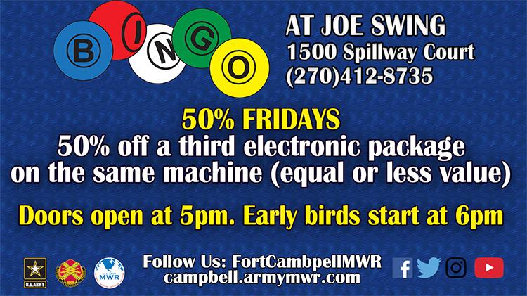 50% Fridays Bingo Session - Fee