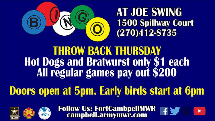 Throw Back Thursday Bingo Session - Fee