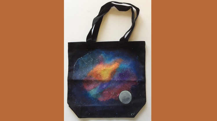 Arts & Crafts Galaxy Painting on Book Bag