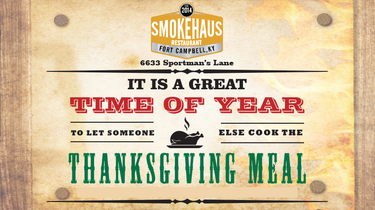 Order Your Thanksgiving Meal from Smokehaus Restaurant