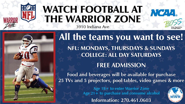 Watch Football at the Warrior Zone