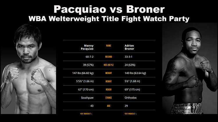 Pacquiao vs Broner - WBA Welterweight Title Fight Watch Party